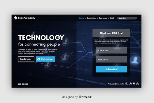 ウェブサイト技術のランディングページ