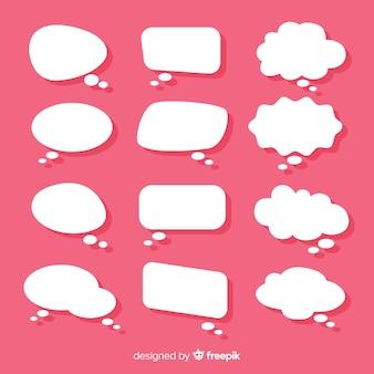 Коллекция плоские речи пузырь в стиле бумаги розовый фон