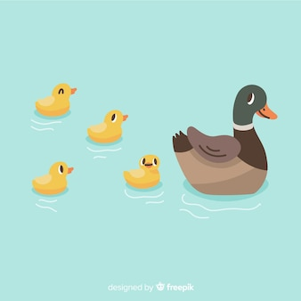 手描きの母鴨と泳ぐアヒルの子