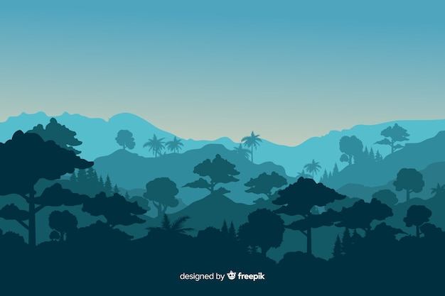 Тропический лесной пейзаж с горами