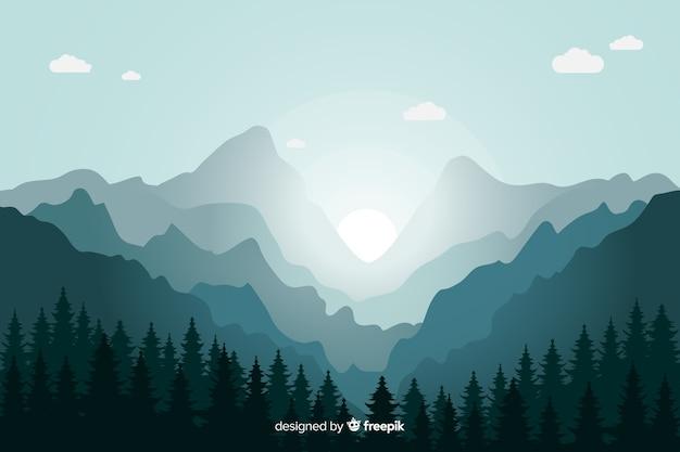 青い山の風景日の出