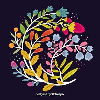 黒い背景にフラットカラフルな花の枝