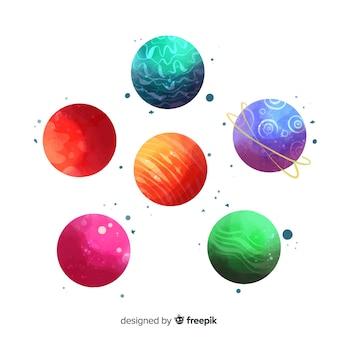 Коллекция разных планет в акварели