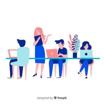 オフィスで一緒に働く人々