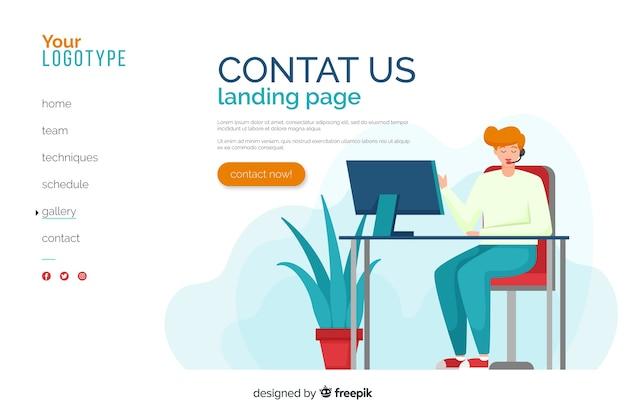 Плоский дизайн, свяжитесь с нами целевая страница