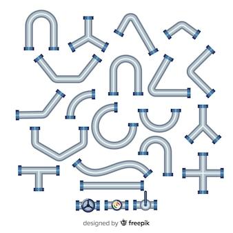 Плоский дизайн коллекции металлических трубопроводов