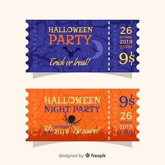 フラットハロウィーンブルーとオレンジのチケット