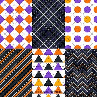 長方形セクションの幾何学的なハロウィーンパターンコレクション