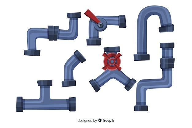 Коллекция трубопроводов в плоском дизайне