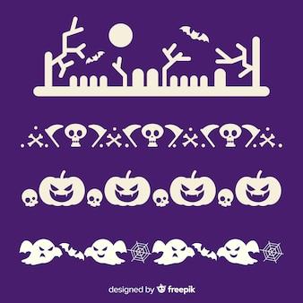 Плоская коллекция хэллоуин границы в фиолетовый и белый