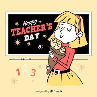 手描きの背景と教師の日の概念