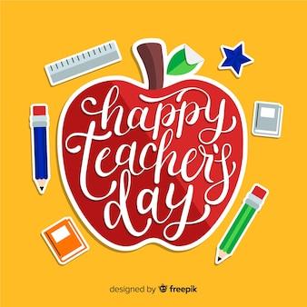 День учителя с надписью