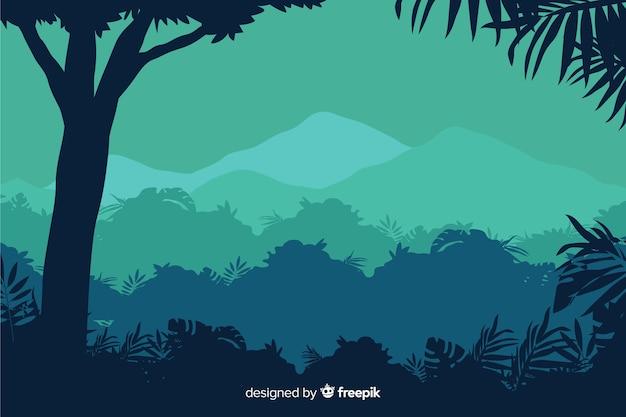 Тропический лесной пейзаж с деревом и видом на горы