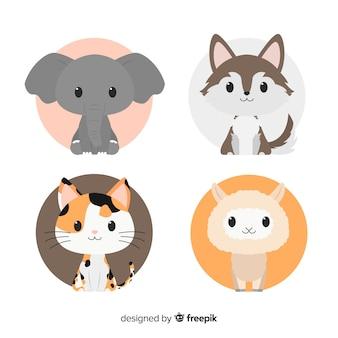 フラットなデザインの手描きのかわいい動物セット