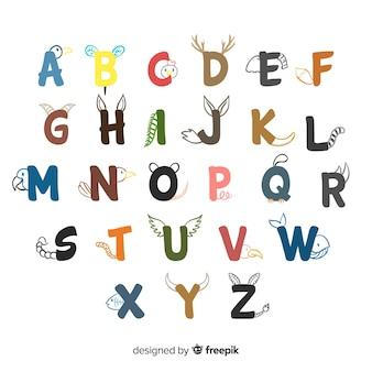 Плоский дизайн набор букв животных
