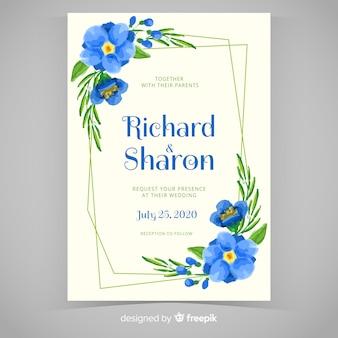 青い手描きの花のフレームの結婚式の招待状
