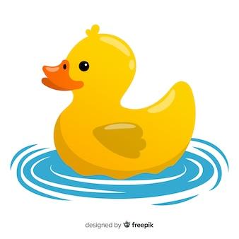 Иллюстрация милый желтый резиновый утенок на воде