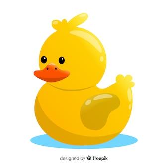 水に黄色のゴム製のアヒルのイラスト