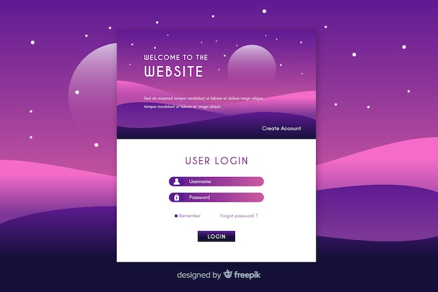 Войти в веб-шаблон целевой страницы