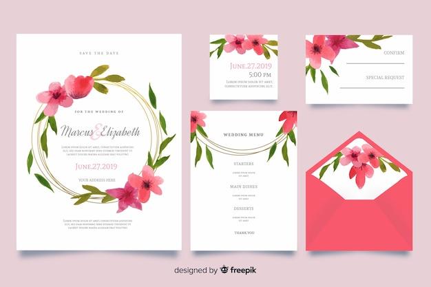 水彩ピンクの結婚式のひな形テンプレート