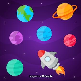 フラットなデザインの惑星パック