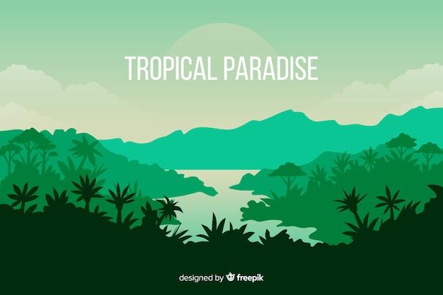 Тропический лесной пейзаж с водой