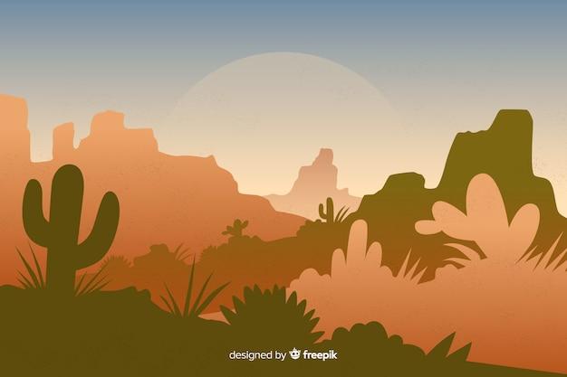 Пустынный ландшафт с кактусами и растениями
