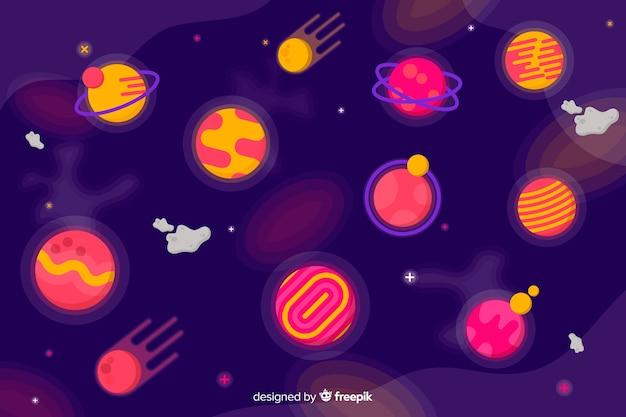 太陽系のカラフルな惑星のコレクション