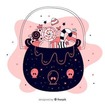 ピンクの色合いのフラットハロウィンバッグ