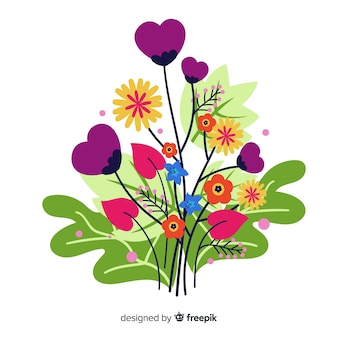 花の花とハート形の枝のコンポジション