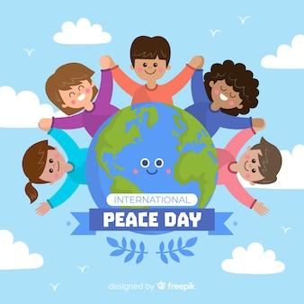 Ручной обращается день мира с детьми