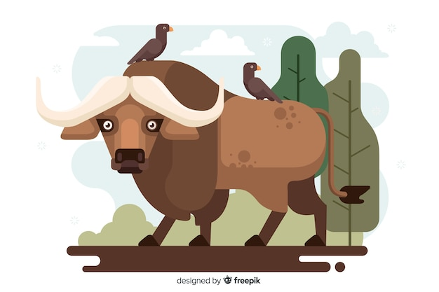 フラットなデザインの野生動物水牛漫画