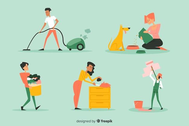 一緒に家を掃除する若者