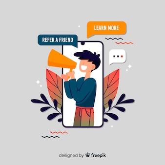 スマートフォンとメガホンで友達のコンセプトを紹介する