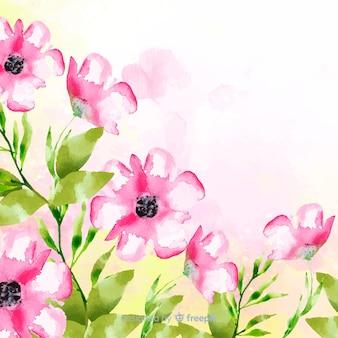 コピースペースと水彩花の背景
