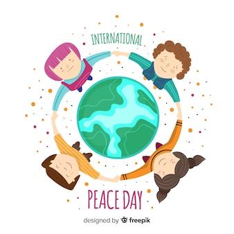 Плоский дизайн мирного дня с детьми
