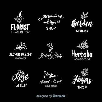 黒の結婚式の花屋のロゴ
