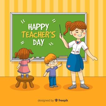 Концепция день учителя с рисованной фоном