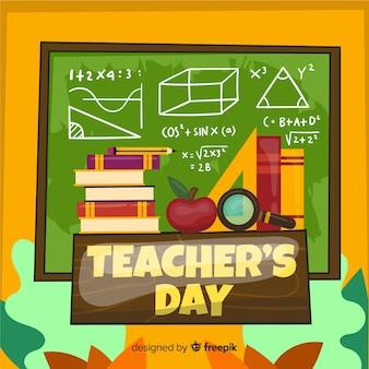 День учителя концепции с плоским фоном дизайна