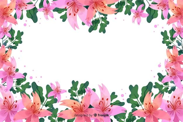 コピースペースと水彩花のフレームの背景