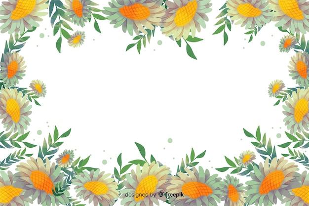 水彩の黄色の花のフレームの背景