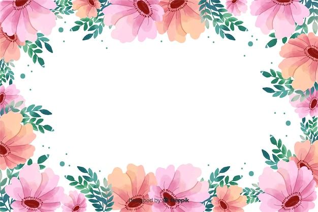 水彩ピンク花のフレームの背景