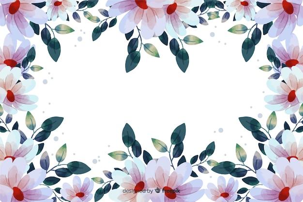 花のフレームの背景の水彩画