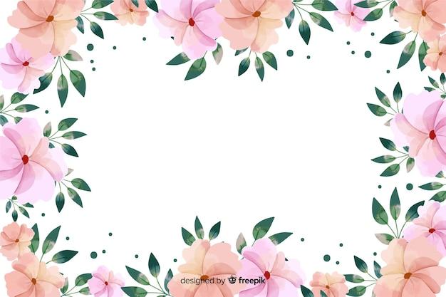 植物のフレームの背景水彩画