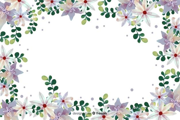 植物のフレームの背景の水彩画