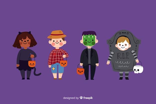Плоский дизайн коллекции детских костюмов хэллоуина