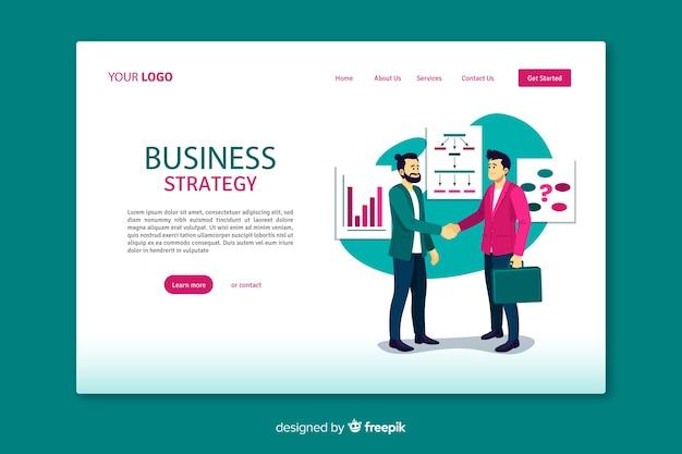 Целевая страница бизнес-стратегии с плоским дизайном