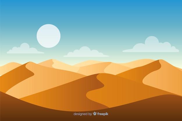 太陽と黄金の砂の砂漠の風景