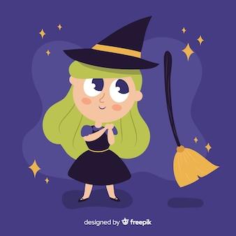 かわいいハロウィーン金髪魔女
