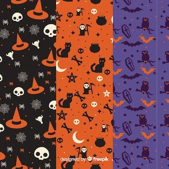 フラットなデザインのハロウィーンパターンのコレクション